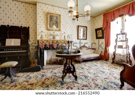 San Diego, CA/USA-AUGUST29: Room in Whaley House Museum, old town of San Diego. August29 2014 in San Diego, California, USA - stock photo