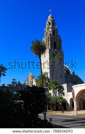 SAN DIEGO, CA, USA - DEC 14, 2017: San Diego Museum of Man in Balboa Park, tower view