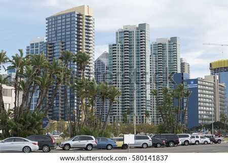 San Diego, CA, USA - February 08, 2017: city skyline skyscrapers in San Diego, California, Unated States