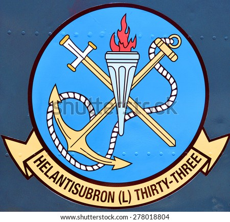 SAN DIEGO CA USA 04 07 2015: Logo of SEASNAKES US Navy USN Helicopter Helantisubron Light HSL-33, US Navy helicopters are used for antisubmarine, antisurface, mine warfare, combat search and rescue - stock photo
