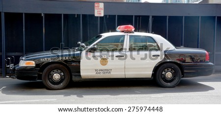 SAN DIEGO  CA USA 04 09 2015: San Diego police car. San Diego Police Department SDPD is the primary law enforcement agency for the city of San Diego,.The department was officially established in 1889  - stock photo
