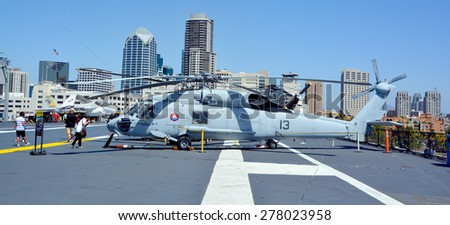 SAN DIEGO CA USA 04 07 2015: The Sikorsky H-60 Seahawk is a multi-purpose helicopter that can perform many different mission types like medical evacuations, search and rescue and warfare missions.  - stock photo