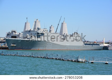 SAN DIEGO CA USA 04 09 2015: USS New Orleans (LPD-18), a San Antonio-class amphibious transport dock, is the fourth commissioned ship of the United States Navy to be named for New Orleans, Louisiana. - stock photo