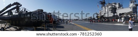SAN DIEGO, CALIFORNIA - DEC 1, 2017 - Panorama of helicopters on the flight deck of the USS Midway CV-41 Aircraft Carrier, San Diego, California