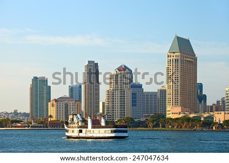 San Diego, California- downtown buildings and boats on a beautiful afternoon