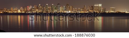 SAN DIEGO, CALIFORNIA - FEB. 11, 2013: A Panoramic View of San Diego at Night. San Diego is second-largest city at the Pacific Ocean in California. It is the eighth-largest city in the United States. - stock photo