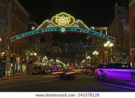 SAN DIEGO, CALIFORNIA - JANUARY 13 2015: Entrance sign to the Gaslamp Quarter Historic District at night. This 16.5-block neighborhood hosts numerous festivals and is a popular tourist destination.