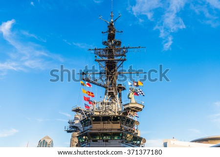 SAN DIEGO, CALIFORNIA - January 2, 2016: The USS Midway Museum is a maritime museum at Navy Pier in San Diego. USS Midway was America's longest-serving aircraft carrier from 1945 to 1992.