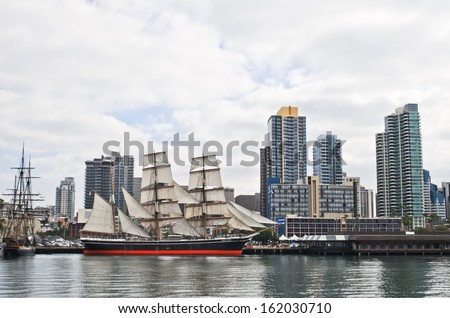 "SAN DIEGO, CALIFORNIA - NOVEMBER 3: ""Star of India"" - the world's oldest active sailing ship of Maritime Museum ship on November 3, 2013 in Downtown San Diego, California, USA. - stock photo"
