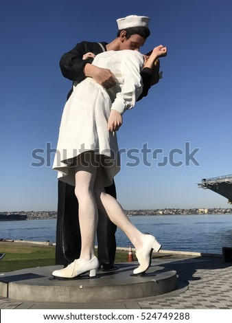San Diego, California, November, 25, 2016.   Unconditional Surrender statue of famous Sailor kiss