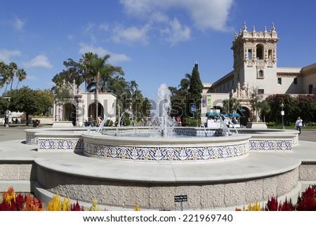 SAN DIEGO, CALIFORNIA - SEPTEMBER 28: Plaza de Panama Fountain in Balboa Park in San Diego on September 28, 2014 - stock photo