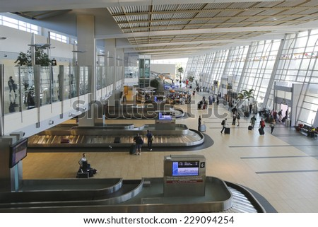 SAN DIEGO, CALIFORNIA - SEPTEMBER 29: San Diego International Airport terminal 2 on September 29, 2014. The airport has international flights to Canada, the United Kingdom, Mexico, and Japan - stock photo