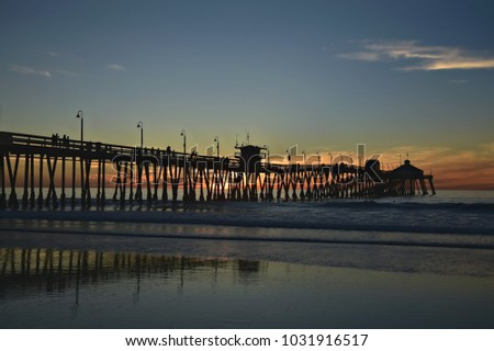 San Diego California, sunset seascape in Imperial Beach.