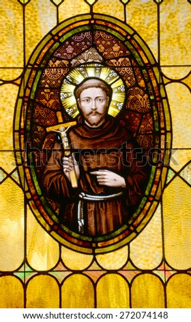 SAN DIEGO, CALIFORNIA, USA 07 APRIL: Friar Junipero Serra, Founder California Missions, Stained Glass in the Immaculate Conception Church on april  07 2015 in Old San Diego CA USA - stock photo