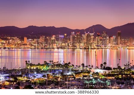 San Diego, California, USA cityscape over the bay. - stock photo
