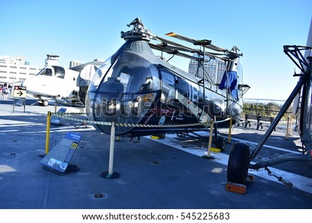 San Diego, California - USA - Dec 04,2016 - Utilitly Helicopter Midway Museum