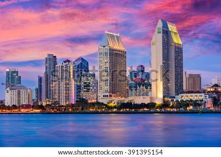 San Diego, California, USA downtown skyline. - stock photo