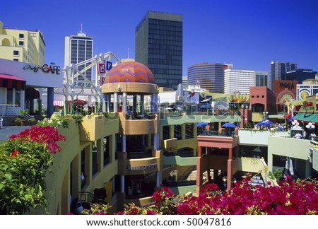 SAN DIEGO - CIRCA 1999: The San Diego downtown area was revitalized in the 1980's with the building of Horton Plaza outdoor shopping mall seen here circa 1999 in San Diego, California. - stock photo