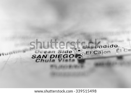 San Diego close up on map, shallow depth of field. - stock photo