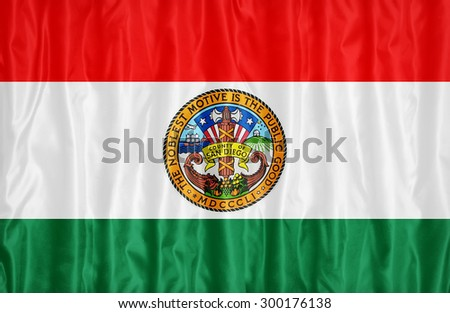 San Diego County , California flag pattern with a peace on fabric texture,retro vintage style - stock photo