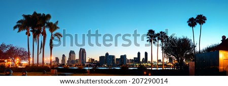 San Diego dawn in early morning with palm tree silhouette. - stock photo