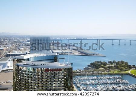 San Diego Downtown sky view and Coronado bridge - stock photo