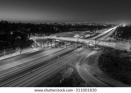 San Diego 405 Freeway black and white in Los Angeles, California. - stock photo