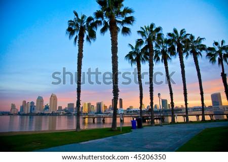 San Diego from Ferry Landing in Coronado - stock photo