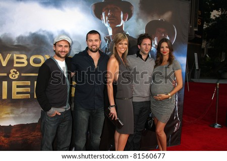 "SAN DIEGO - JUL 23:  Actors Charlie Day, Rob McElhenney, Kaitlin Olson, Glenn Howerton  arriving at the ""Cowboys and Aliens"" Premiere at Civic Theater on July 23, 2010 in San DIego, CA"