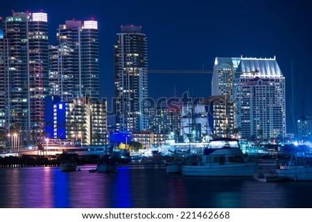 San Diego Marina at Night. San Diego Skyline and the Bay. - stock photo