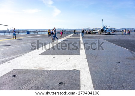 SAN DIEGO-Nov 16, 2014:The historic aircraft carrier, USS Midway now a museum docked in Downtown San Diego, on Nov 16, 2014       - stock photo