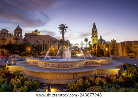 San Diego's Balboa Park at twilight in San Diego California USA - stock photo
