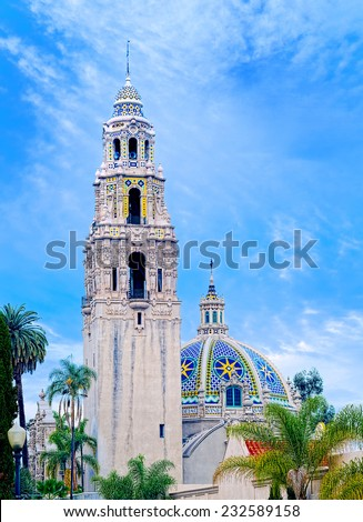 San Diego's Balboa Park Bell Tower and Blue Cloudy Sky in San Diego, California USA - stock photo