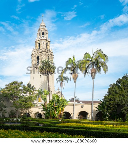 San Diego's Balboa Park Bell Tower in San Diego California - stock photo