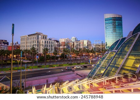 SAN DIEGO - SEP 28, 2014: The Gaslamp Quarter in San Diego from San Diego convention center on September 28, 2014 The Gaslamp Quarter extends from Broadway to Harbor Drive, and from 4th to 6th Avenue. - stock photo