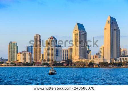 San Diego skyline at sunset, CA - stock photo