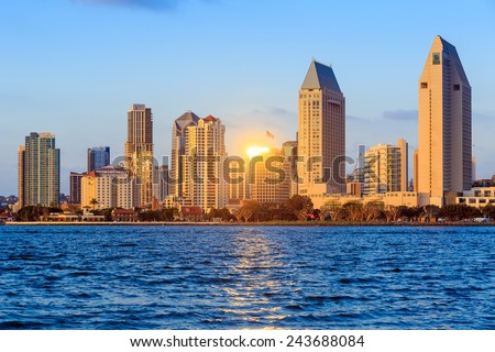 San Diego skyline at sunset, CA - stock photo