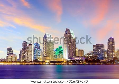 San Diego skyline at sunset, CA USA - stock photo