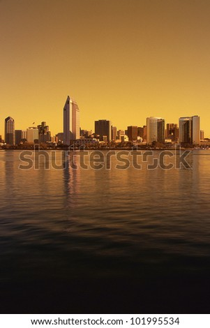 San Diego skyline bathed in golden light - stock photo
