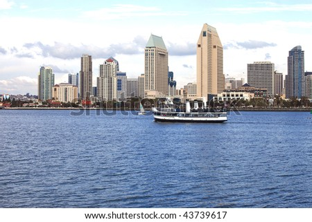 San Diego skyline & ferry. - stock photo