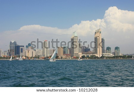 San Diego Skyline from the Water with Boats in the forground