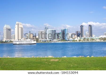 San Diego skyline view from Coronado Island - stock photo