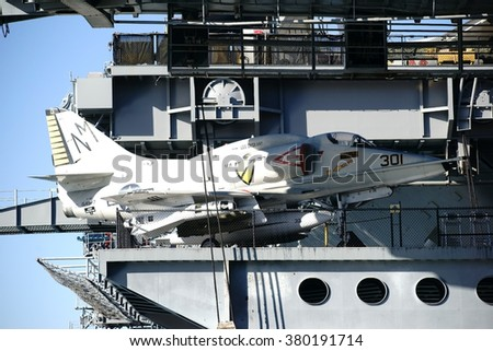 SAN DIEGO, UNITED STATES - DECEMBER 25: An AF-4 fighter aircraft on the lower deck of the aircraft carrier MSS Midway on December 25, 2015 in San Diego / AF-4 fighter aircraft