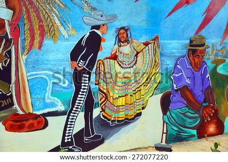 SAN DIEGO USA APRIL 05 2015: Mural tell the story of mexicans americans people in Old Town San Diego State Historic Park, located in the Old Town of San Diego, California,.  - stock photo