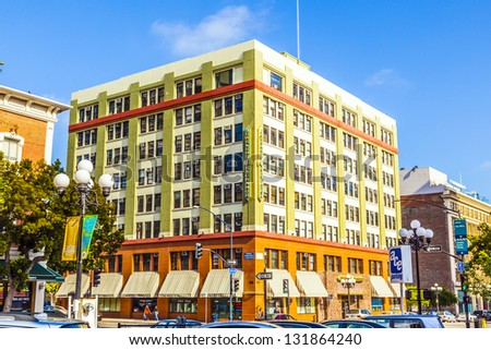 SAN DIEGO, USA - JUNE 11: facade of historic house in the gaslamp quarter on June 11, 2012 in San Diego, USA. The area is a historic district on the Register of Historic Places and dates back to 1867. - stock photo
