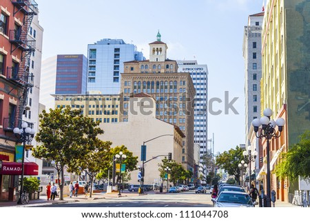 SAN DIEGO, USA - JUNE 11: facade of historic houses in the gaslamp quarter on June 11 2012 in San Diego, USA. The area is registered on the National Register of Historic Places and dates back to 1867.