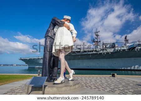 SAN DIEGO, USA - SEP 28, 2014: Unconditional Surrender sculpture at sea port on September 28, 2014 in San Diego. The statue resembles the photograph of V-J day in Times Square