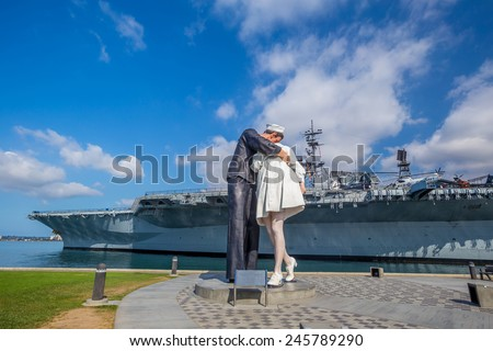 SAN DIEGO, USA - SEP 28, 2014: Unconditional Surrender sculpture at sea port on September 28, 2014 in San Diego. The statue resembles the photograph of V-J day in Times Square - stock photo