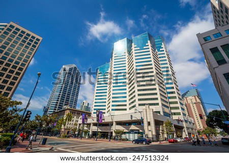 SAN DIEGO, USA - SEPT 28, 2014: San Diego city on September 28, 2014 San Diegois a major city in California, on the coast of the Pacific Ocean in Southern California,