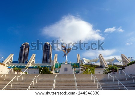 SAN DIEGO, USA - SEPTEMBER 28, 2014: San Diego Convention Center on September 28, 2014 It is located in the Marina district of downtown San Diego near the Gaslamp Quarter. - stock photo